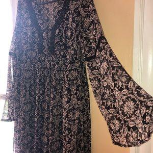 Long sleeve chiffon summer maxi dress